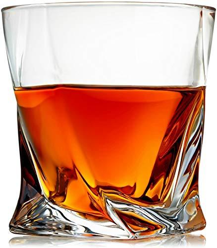 Venero Crystal Whiskey Glasses, Set of 4 Rocks Glasses in Gift Box