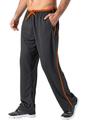 MAGNIVIT Workout Pants for Men Athletic Basketball Soccer Warm Up Pants with Pockets Grey/Orange